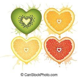 Vector citrus hearts