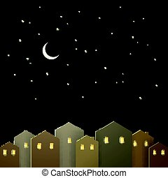 Vector City at Night with Stars and a Moon
