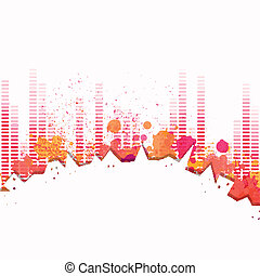 Vector City Background with Music Equalize