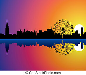 vector city background with reflection in water
