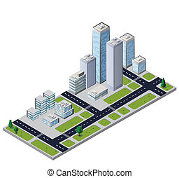 Vector city block with houses and roads