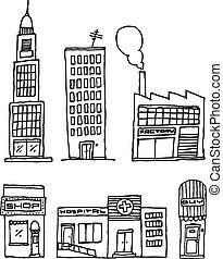 Vector City Buildings / Ink drawing
