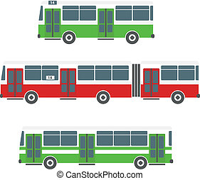 Vector city bus collection isolated on white
