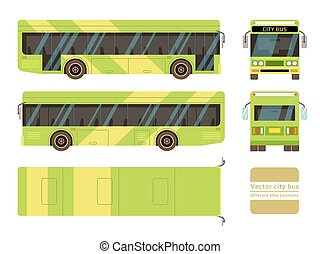 Vector city bus in different view positions