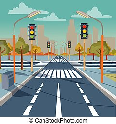 Vector illustration of city crossroad with traffic lights, road markings, sidewalk for pedestrians, without any cars and people. Cityscape, empty street, highway, urban concept in flat style