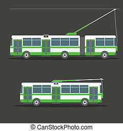 Vector city electric trolleybus collection