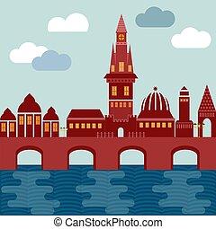 vector city european on coast with bridge houses tower of church