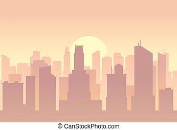 Vector city flat skyline