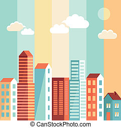 Vector city illustration in flat simple style - houses and...