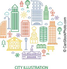 Vector city illustration in linear style, buildings and clouds