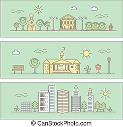 Vector city illustration in linear style - buildings and trees