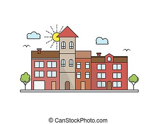 Vector city landscape illustration in linear style - buildings and clouds - graphic line design template