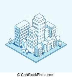 Vector city landscape isometric illustration - business...