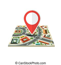 Vector City Map Icon with Red Marker Isolated on White Background