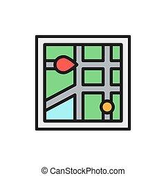 Vector city map navigation, gps flat color line icon.