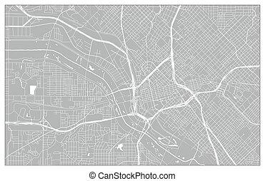 Vector city map of Dallas