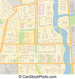 Vector city map with typical locations and objects like...