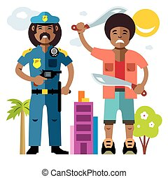 Vector City Police. Law Enforcement. Flat style colorful...