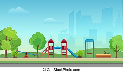 Vector city public park with kids playground on the modern city skyscrapers background. Green park in town city center.