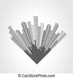 Vector city scene. Cityscape. Silhouette of skyscrapers on a white background. Monochrome buildings. Round design.