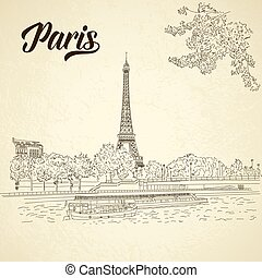 Vector city sketching on vintage background. Paris, France, Eiffel tower. Template for business card, banner, poster, notebook, invitation