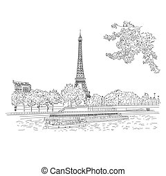 Vector city sketching on white background. Paris, France, Eiffel tower. Template for business card, banner, poster, notebook, invitation