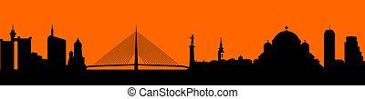 Vector - city skyline silhouette il - Town in orange...