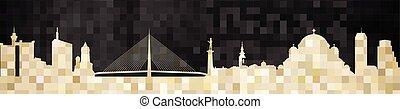 Mosaic city in grunge black background