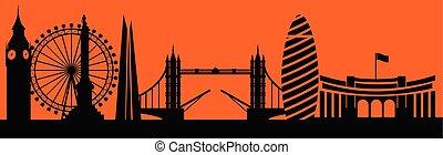 Vector city skyline silhouette