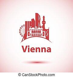 Vector city skyline with landmarks Vienna Austria. Vector...