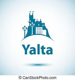 Vector city skyline with landmarks Yalta, Crimea, Russia.