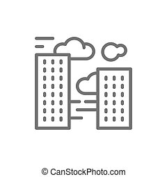 Vector city smog, air pollution line icon.