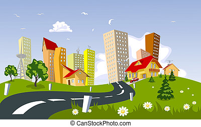 Vector city - summer - Colorful abstract vector city ....