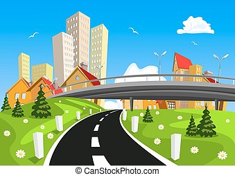 Vector city surrounded by nature landscape with bridge