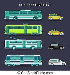 Vector city transport set in flat style. Urban vehicles ...