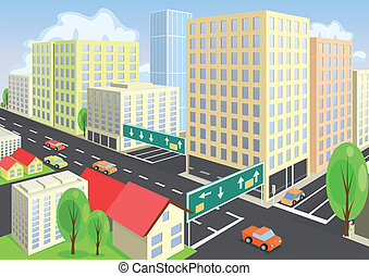 Vector city view from above. Vector art