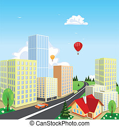 Vector city with a balloon in the background