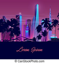 Vector city with palms, tower. Background template