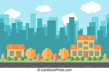 Vector city with two cartoon houses and buildings.