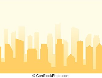 Vector cityscape background with seamless pattern