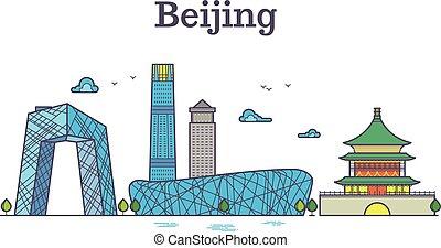 Vector cityscape of china Beijing city landmarks. Color Beijing skyline