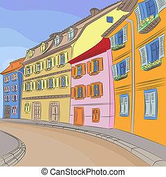 Vector cityscape of old European city