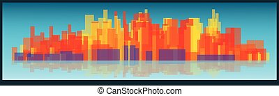 Vector cityscape tall buildings on a long strip