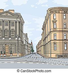 Vector Cityscape, the wide avenue in the city center - Urban...