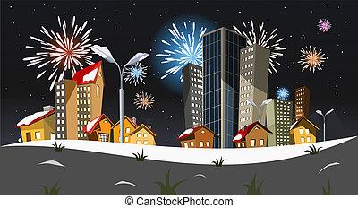vector, ciudad, -, año nuevo