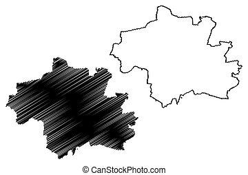 vector, ciudad, munich, bosquejo, (federal, república, mapa, germany), ilustración, munchen, garabato