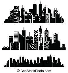 vector, ciudades, silueta