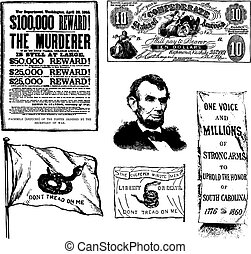 Vector Civil War Illustrations - Set of historical...