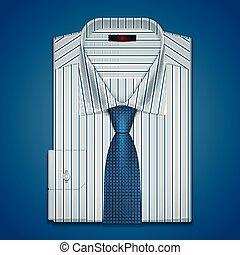 vector, clásico, camisa y corbata