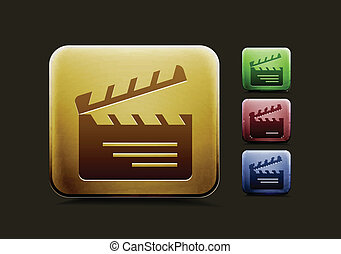 vector clapper boards icon set, includes four color versions for your web colour design used.
